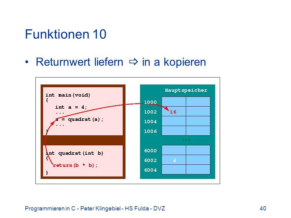 Programmieren in C - Peter Klingebiel - HS Fulda - DVZ40 Funktionen 10 Returnwert liefern in a kopieren