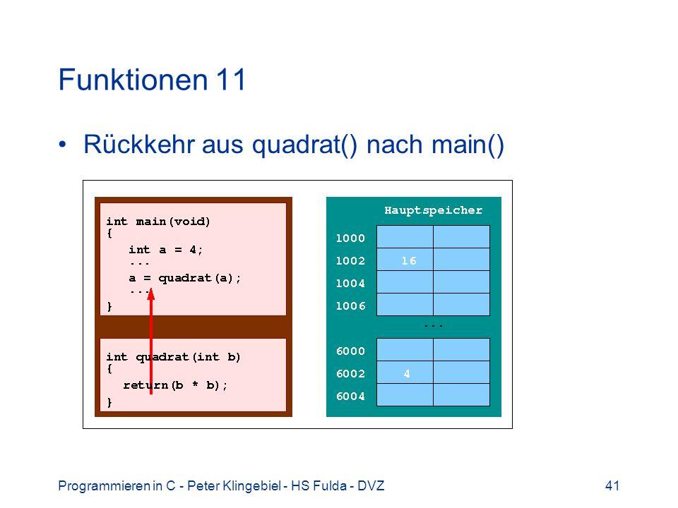 Programmieren in C - Peter Klingebiel - HS Fulda - DVZ41 Funktionen 11 Rückkehr aus quadrat() nach main()