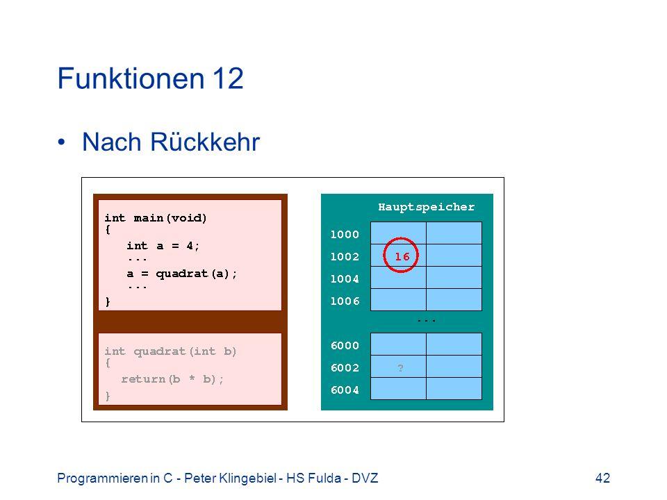 Programmieren in C - Peter Klingebiel - HS Fulda - DVZ42 Funktionen 12 Nach Rückkehr