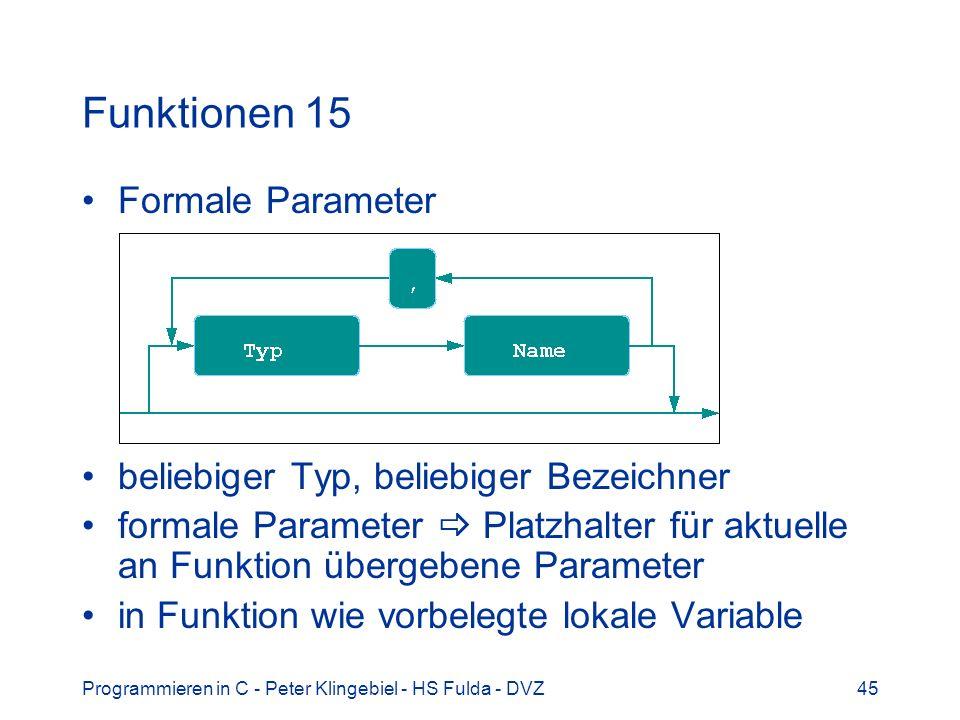 Programmieren in C - Peter Klingebiel - HS Fulda - DVZ45 Funktionen 15 Formale Parameter beliebiger Typ, beliebiger Bezeichner formale Parameter Platz