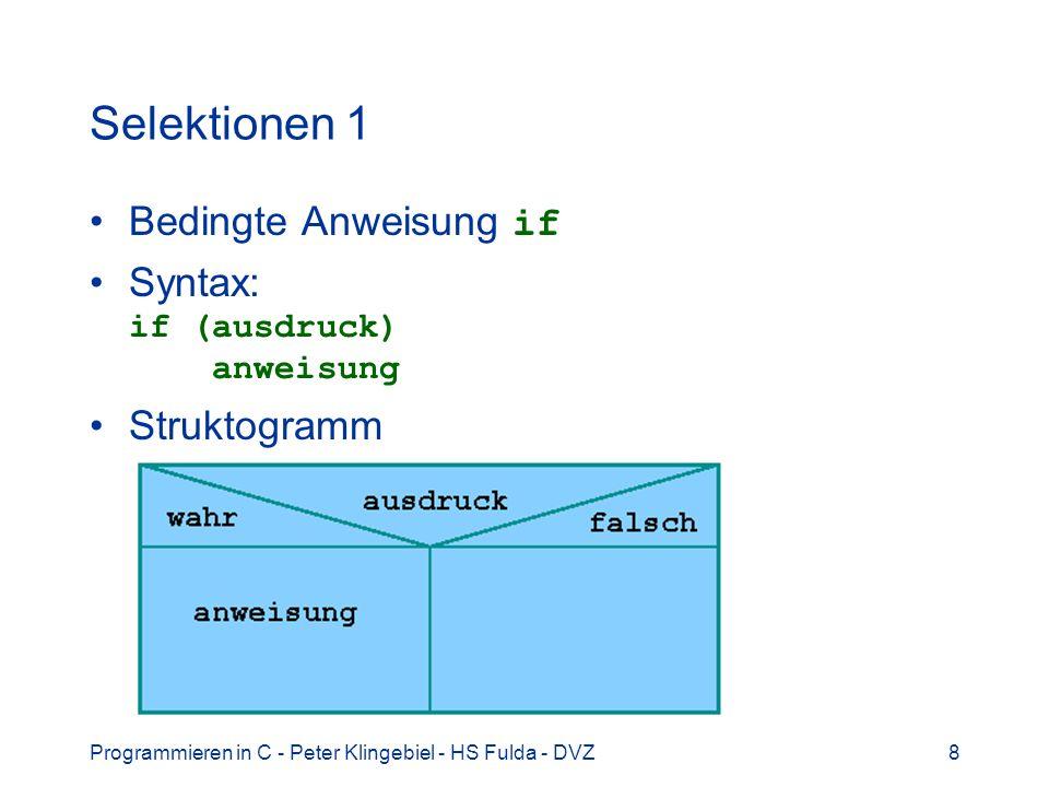 Programmieren in C - Peter Klingebiel - HS Fulda - DVZ49 Funktionen 19 Regeln für Funktionen Funktionen werden global definiert, damit keine lokalen Funktionen möglich main() ist normale Funktion, die aber beim Programmstart automatisch aufgerufen wird Rekursion ist problemlos möglich: int fak(int n) { if(n == 1) return(1); else return(n * fak(n-1)); }