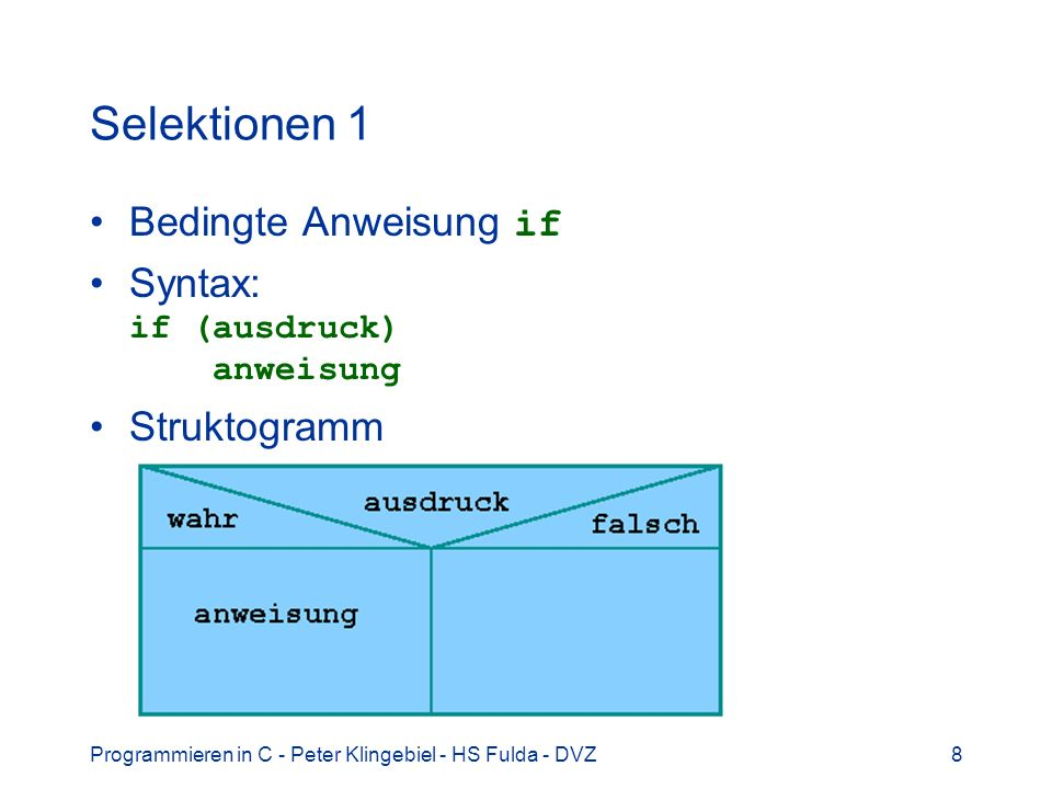 Programmieren in C - Peter Klingebiel - HS Fulda - DVZ19 Selektionen 12 Beispiel: mydraw3.c