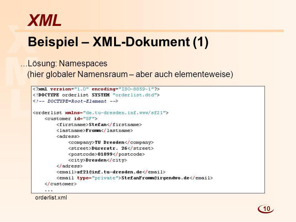 L M X XML Beispiel – XML-Dokument (1)...Lösung: Namespaces (hier globaler Namensraum – aber auch elementeweise) orderlist.xml 10