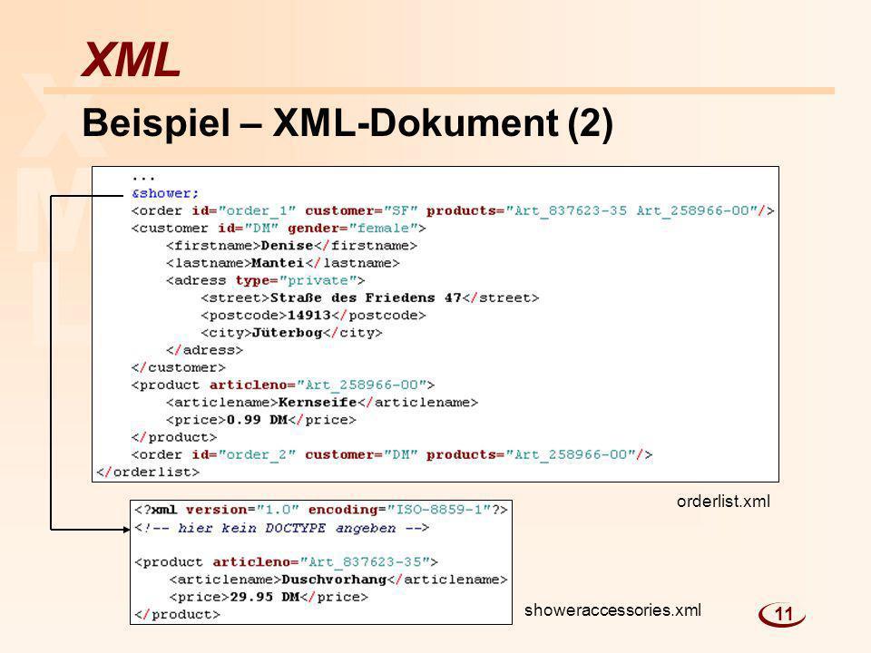 L M X XML Beispiel – XML-Dokument (2) orderlist.xml showeraccessories.xml 11