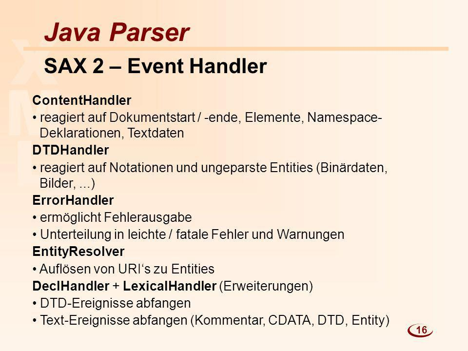L M X Java Parser SAX 2 – Event Handler ContentHandler reagiert auf Dokumentstart / -ende, Elemente, Namespace- Deklarationen, Textdaten DTDHandler re