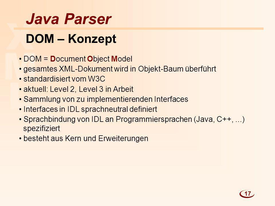 L M X Java Parser DOM – Konzept DOM = Document Object Model gesamtes XML-Dokument wird in Objekt-Baum überführt standardisiert vom W3C aktuell: Level