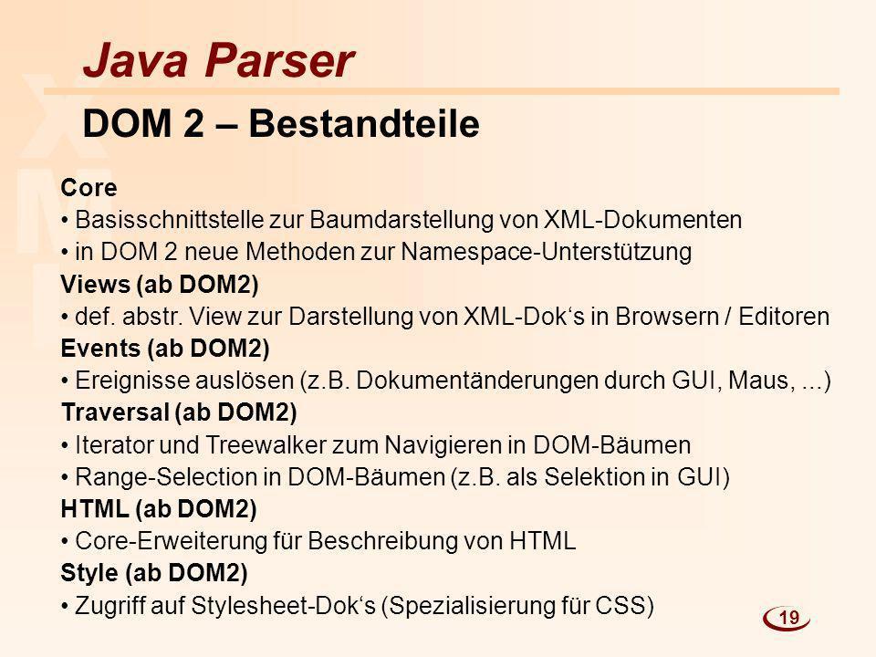 L M X Java Parser DOM 2 – Bestandteile Core Basisschnittstelle zur Baumdarstellung von XML-Dokumenten in DOM 2 neue Methoden zur Namespace-Unterstützu