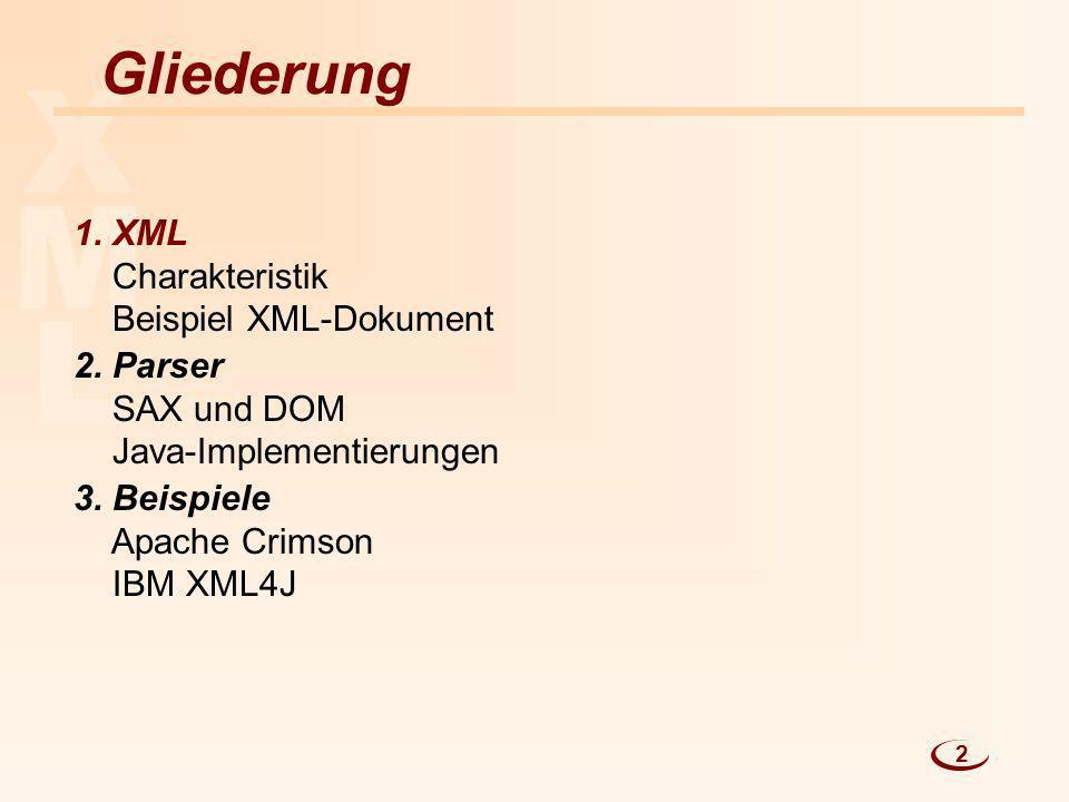 L M X Gliederung 1. XML Charakteristik Beispiel XML-Dokument 2. Parser SAX und DOM Java-Implementierungen 3. Beispiele Apache Crimson IBM XML4J 2