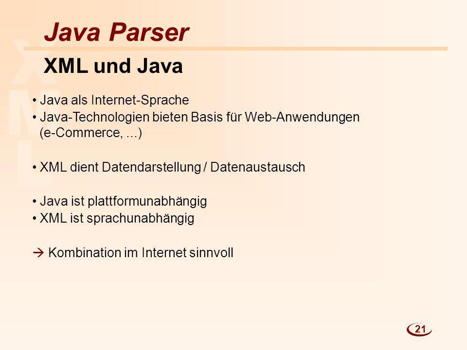 L M X Java Parser XML und Java Java als Internet-Sprache Java-Technologien bieten Basis für Web-Anwendungen (e-Commerce,...) XML dient Datendarstellun