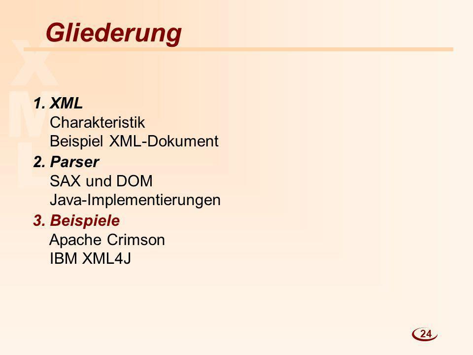 L M X Gliederung 1. XML Charakteristik Beispiel XML-Dokument 2. Parser SAX und DOM Java-Implementierungen 3. Beispiele Apache Crimson IBM XML4J 24