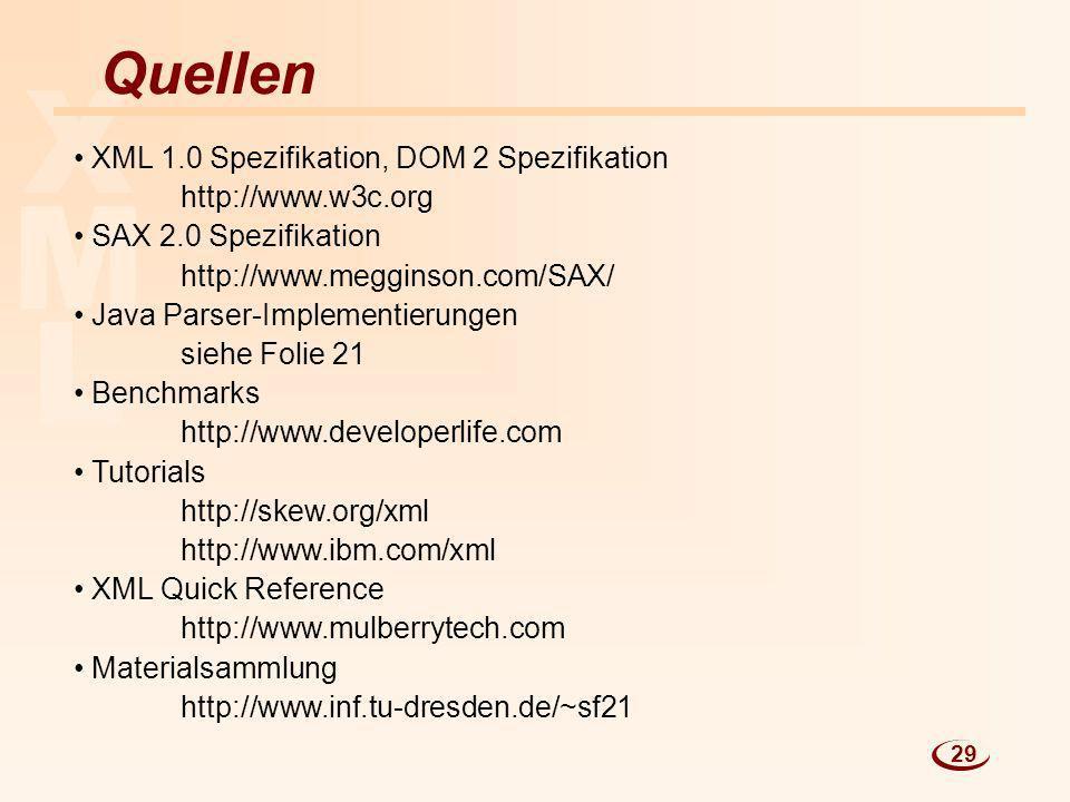 L M X Quellen XML 1.0 Spezifikation, DOM 2 Spezifikation http://www.w3c.org SAX 2.0 Spezifikation http://www.megginson.com/SAX/ Java Parser-Implementi