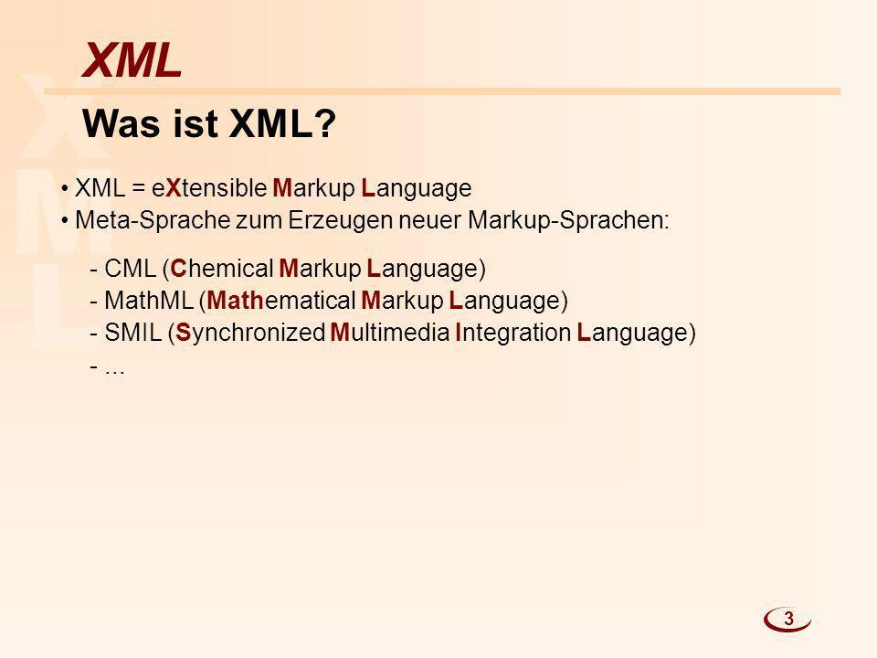 L M X XML Was ist XML? XML = eXtensible Markup Language Meta-Sprache zum Erzeugen neuer Markup-Sprachen: - CML (Chemical Markup Language) - MathML (Ma