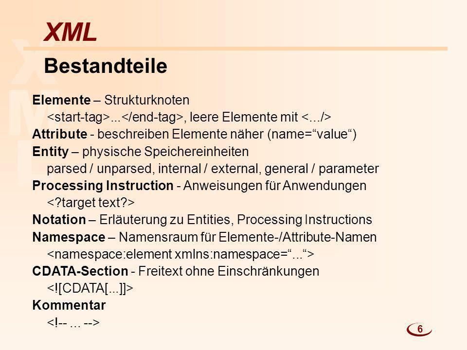 L M X XML Bestandteile Elemente – Strukturknoten..., leere Elemente mit Attribute - beschreiben Elemente näher (name=value) Entity – physische Speiche