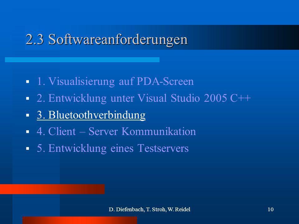 D. Diefenbach, T. Stroh, W. Reidel10 2.3 Softwareanforderungen 1. Visualisierung auf PDA-Screen 2. Entwicklung unter Visual Studio 2005 C++ 3. Bluetoo