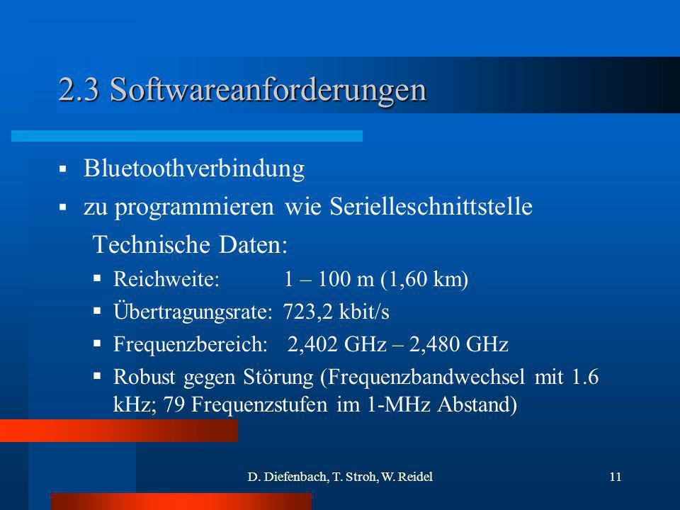D. Diefenbach, T. Stroh, W. Reidel11 2.3 Softwareanforderungen Bluetoothverbindung zu programmieren wie Serielleschnittstelle Technische Daten: Reichw