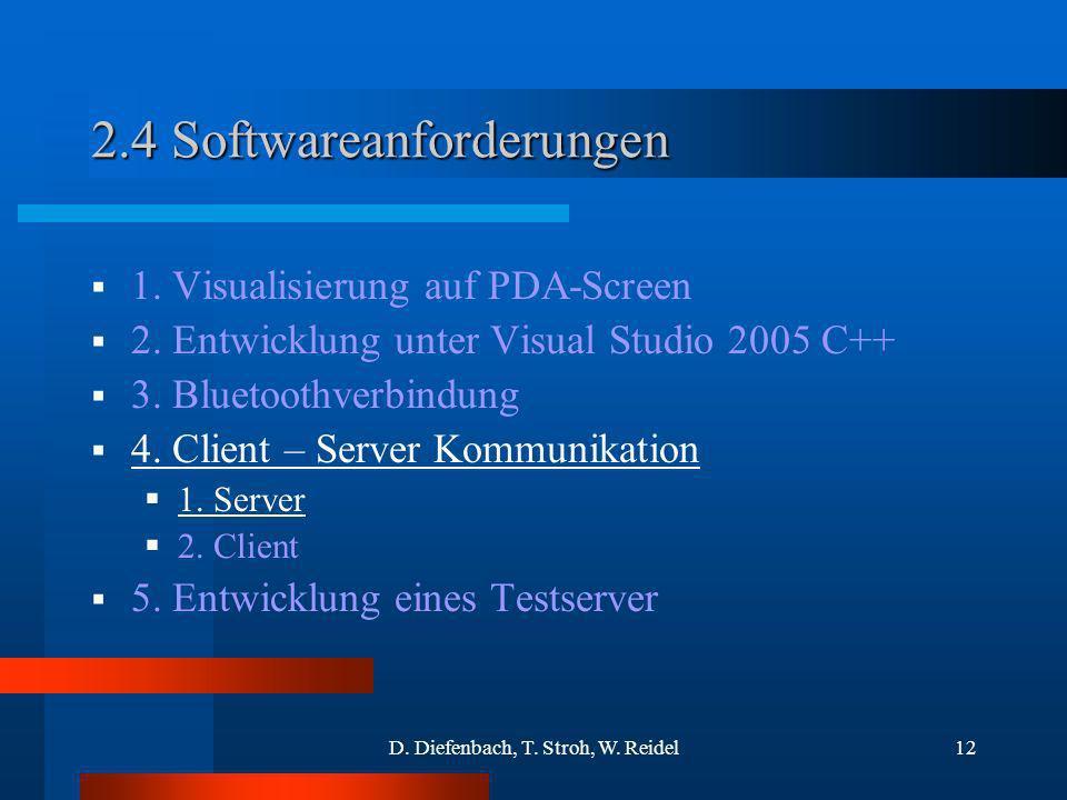 D. Diefenbach, T. Stroh, W. Reidel12 2.4 Softwareanforderungen 1. Visualisierung auf PDA-Screen 2. Entwicklung unter Visual Studio 2005 C++ 3. Bluetoo