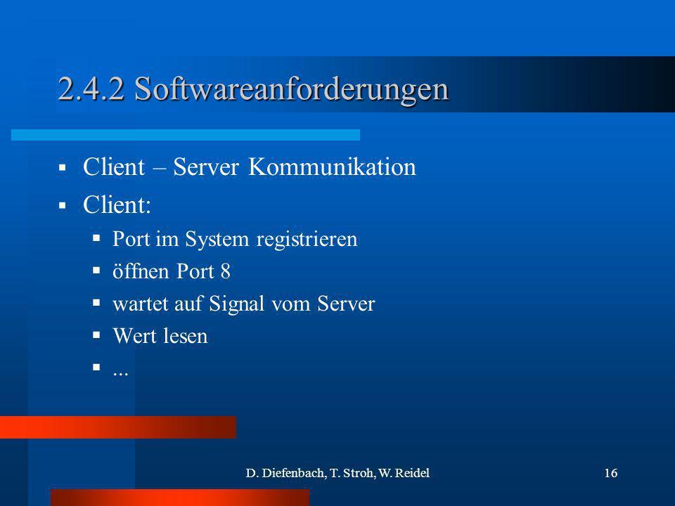 D. Diefenbach, T. Stroh, W. Reidel16 2.4.2 Softwareanforderungen Client – Server Kommunikation Client: Port im System registrieren öffnen Port 8 warte