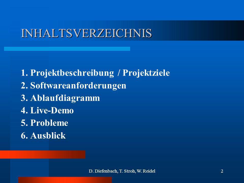 D. Diefenbach, T. Stroh, W. Reidel2 INHALTSVERZEICHNIS 1. Projektbeschreibung / Projektziele 2. Softwareanforderungen 3. Ablaufdiagramm 4. Live-Demo 5