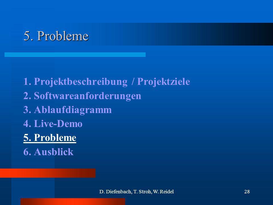 D. Diefenbach, T. Stroh, W. Reidel28 5. Probleme 1. Projektbeschreibung / Projektziele 2. Softwareanforderungen 3. Ablaufdiagramm 4. Live-Demo 5. Prob