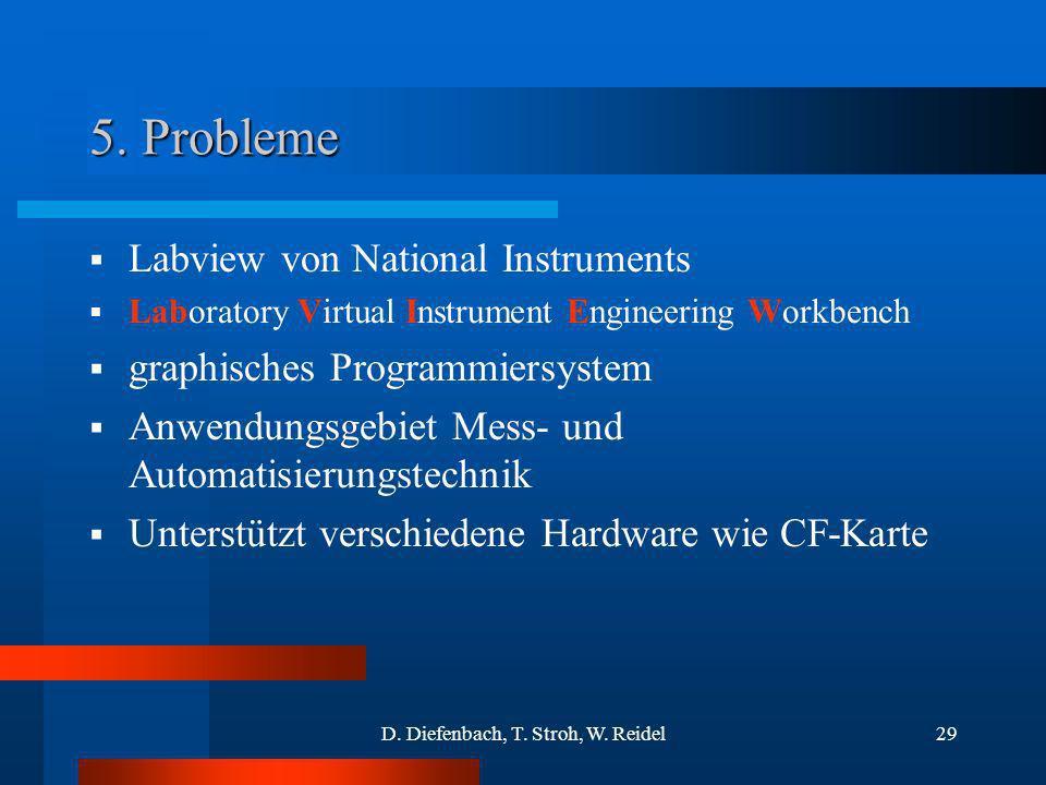 D. Diefenbach, T. Stroh, W. Reidel29 5. Probleme Labview von National Instruments Laboratory Virtual Instrument Engineering Workbench graphisches Prog