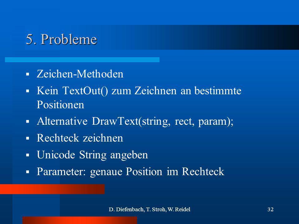 D. Diefenbach, T. Stroh, W. Reidel32 5. Probleme Zeichen-Methoden Kein TextOut() zum Zeichnen an bestimmte Positionen Alternative DrawText(string, rec