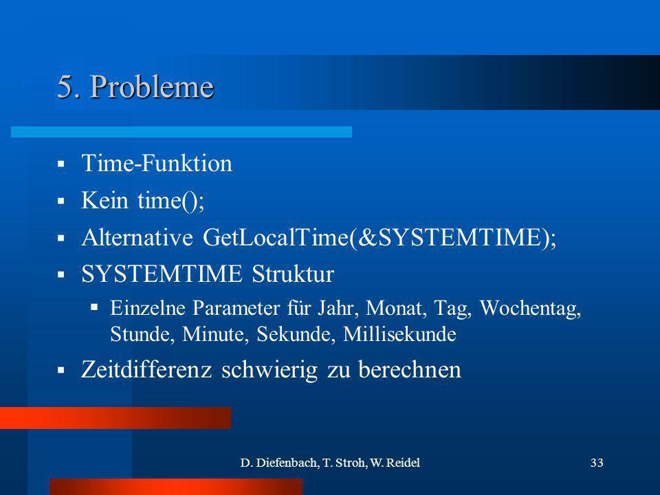 D. Diefenbach, T. Stroh, W. Reidel33 5. Probleme Time-Funktion Kein time(); Alternative GetLocalTime(&SYSTEMTIME); SYSTEMTIME Struktur Einzelne Parame