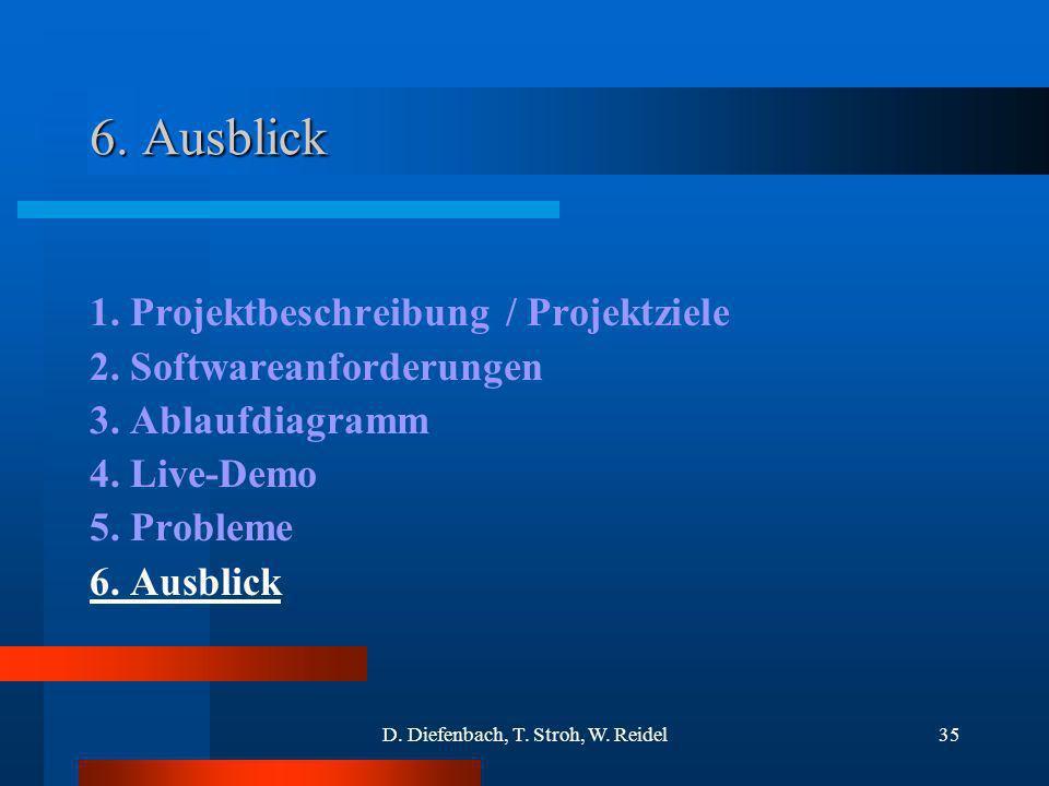 D. Diefenbach, T. Stroh, W. Reidel35 6. Ausblick 1. Projektbeschreibung / Projektziele 2. Softwareanforderungen 3. Ablaufdiagramm 4. Live-Demo 5. Prob