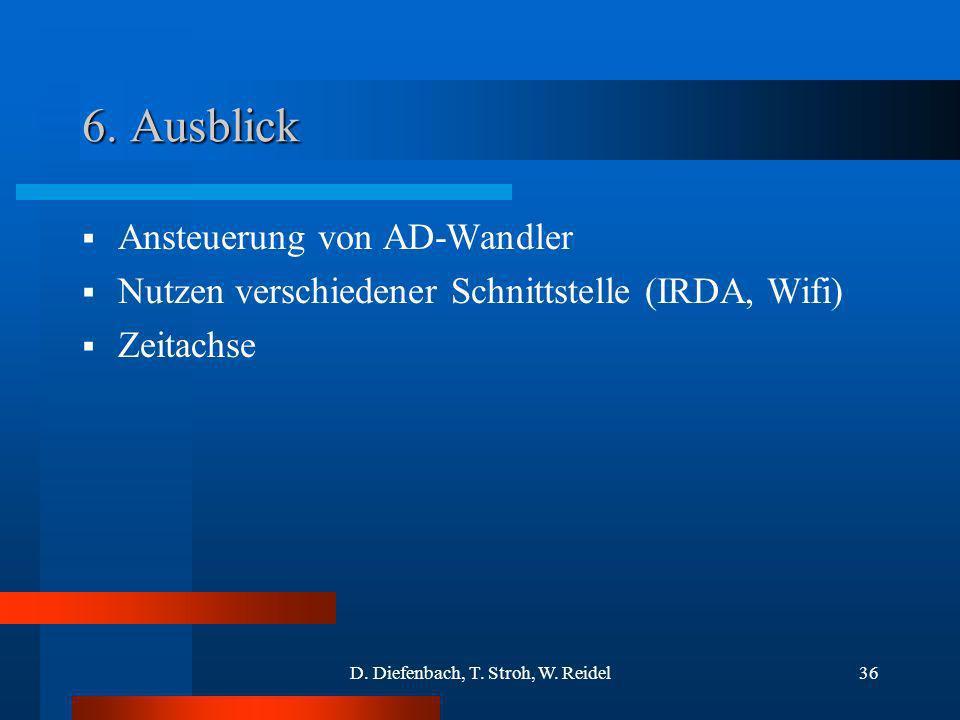 D. Diefenbach, T. Stroh, W. Reidel36 6. Ausblick Ansteuerung von AD-Wandler Nutzen verschiedener Schnittstelle (IRDA, Wifi) Zeitachse