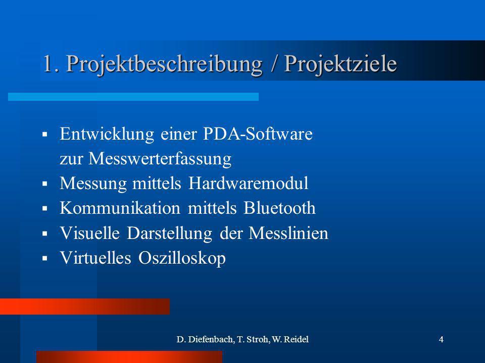 D. Diefenbach, T. Stroh, W. Reidel4 1. Projektbeschreibung / Projektziele Entwicklung einer PDA-Software zur Messwerterfassung Messung mittels Hardwar
