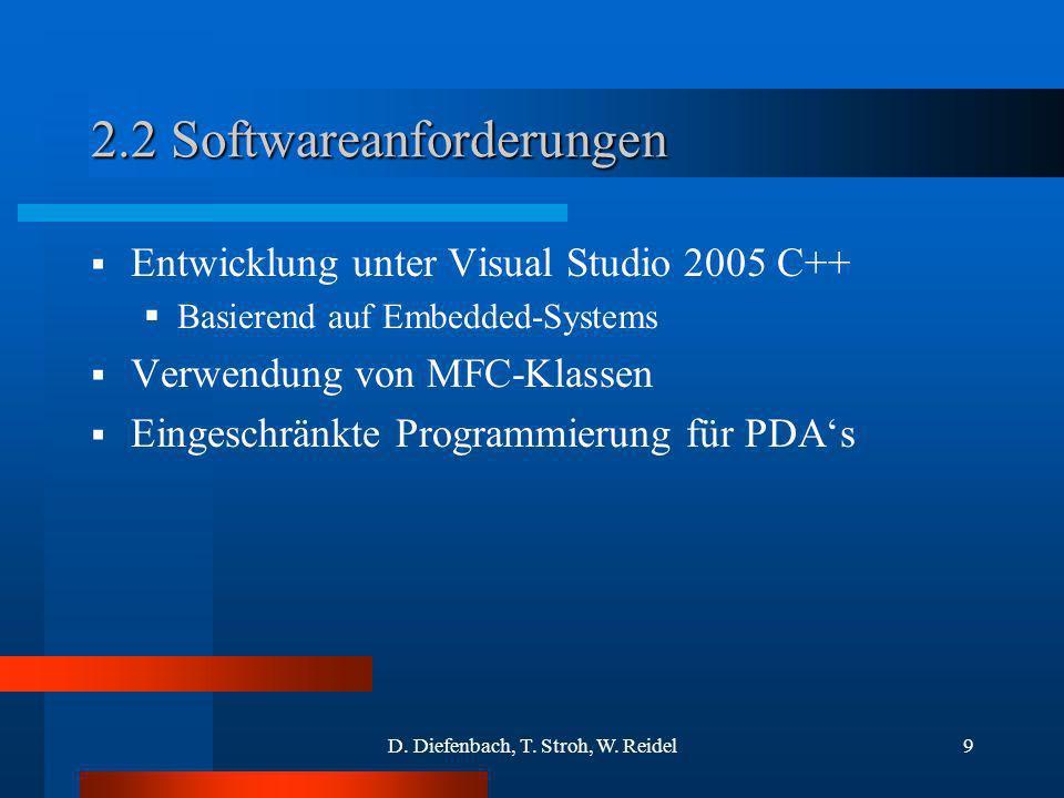D. Diefenbach, T. Stroh, W. Reidel9 2.2 Softwareanforderungen Entwicklung unter Visual Studio 2005 C++ Basierend auf Embedded-Systems Verwendung von M