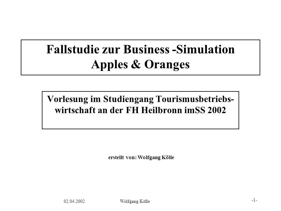 02.04.2002Wolfgang Kölle Fallstudie zur Business -Simulation Apples & Oranges Vorlesung im Studiengang Tourismusbetriebs- wirtschaft an der FH Heilbro
