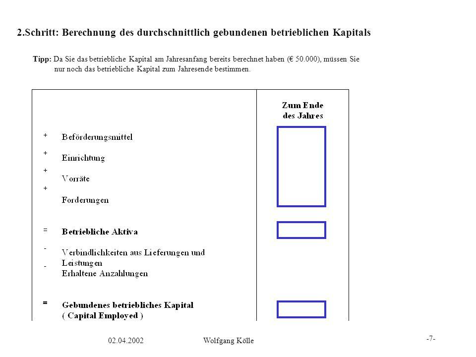 02.04.2002Wolfgang Kölle 2.Schritt: Berechnung des durchschnittlich gebundenen betrieblichen Kapitals Tipp: Da Sie das betriebliche Kapital am Jahresa