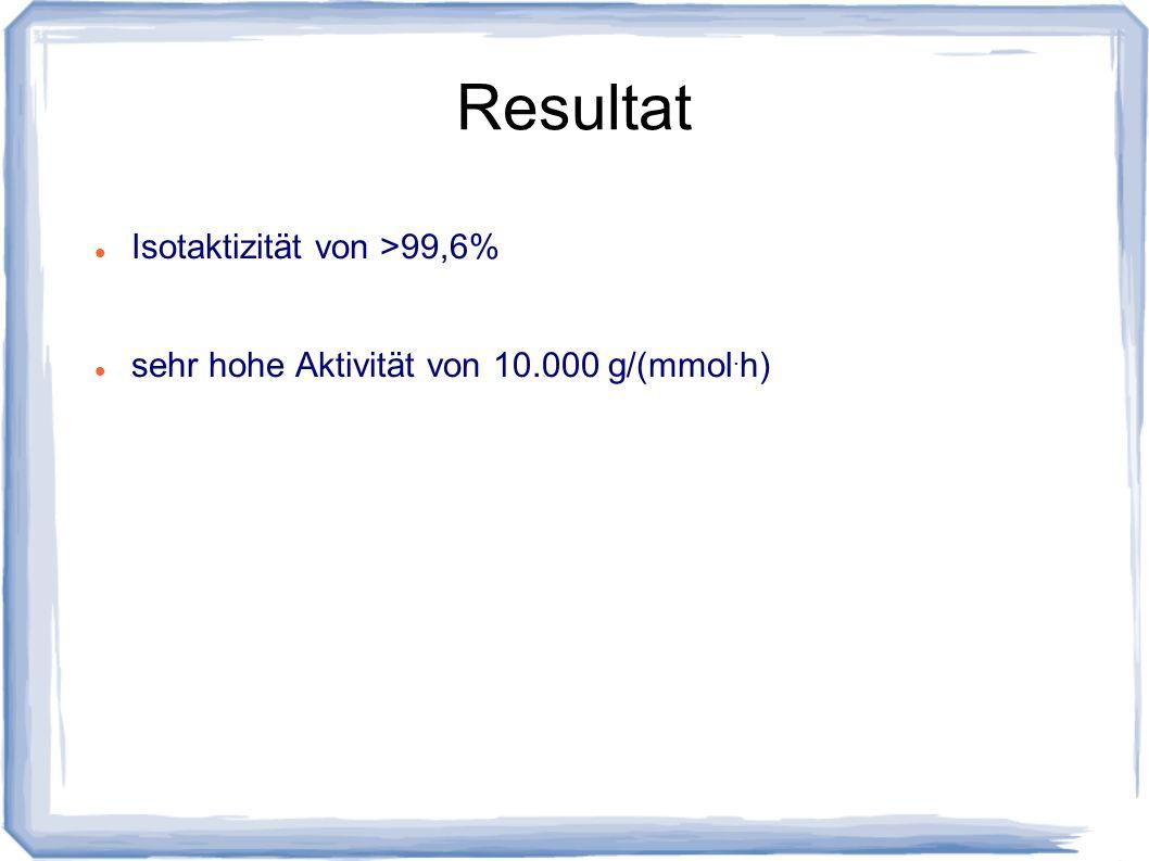 Resultat Isotaktizität von >99,6% sehr hohe Aktivität von 10.000 g/(mmol. h)
