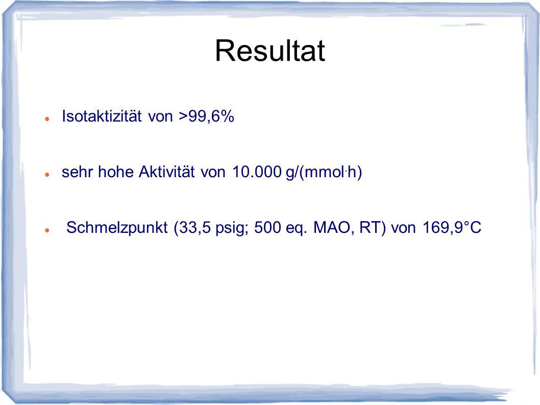 Resultat Isotaktizität von >99,6% sehr hohe Aktivität von 10.000 g/(mmol. h) Schmelzpunkt (33,5 psig; 500 eq. MAO, RT) von 169,9°C