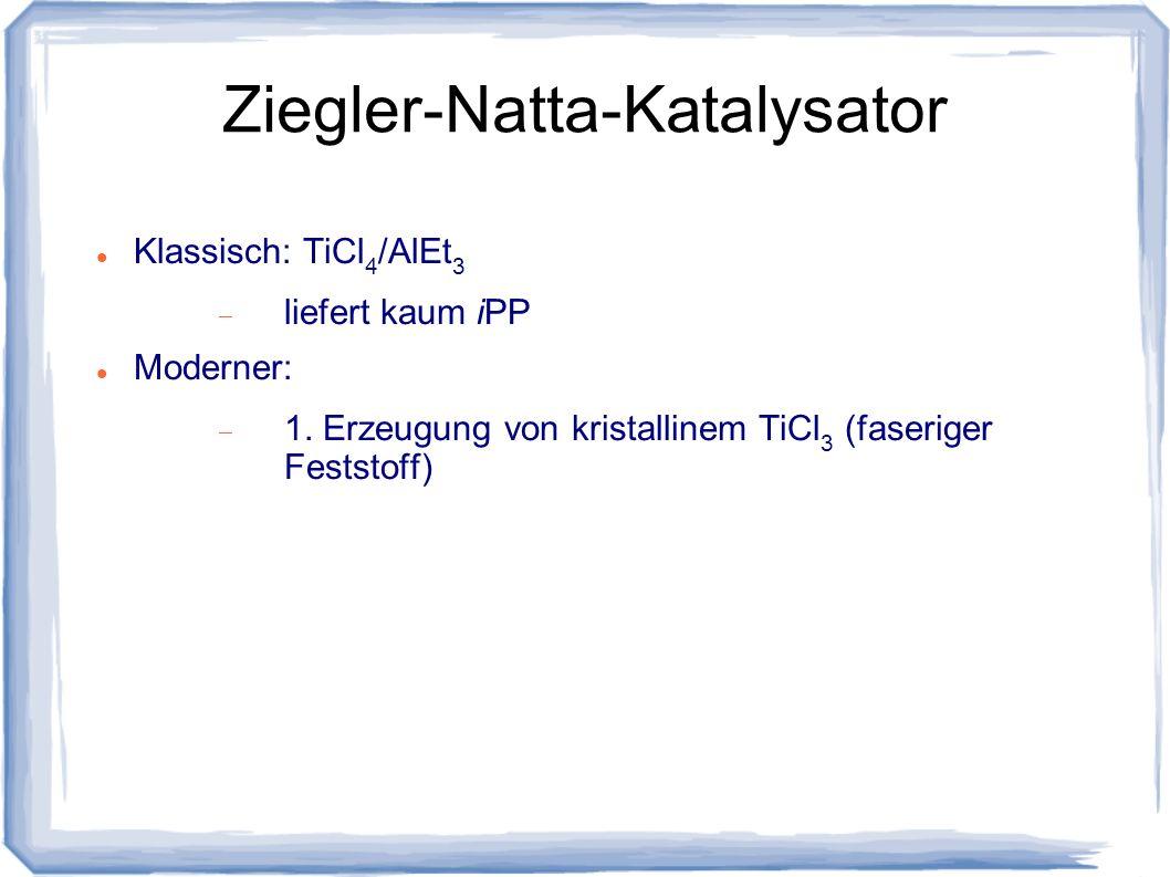 Ziegler-Natta-Katalysator Klassisch: TiCl 4 /AlEt 3 liefert kaum iPP Moderner: 1. Erzeugung von kristallinem TiCl 3 (faseriger Feststoff)