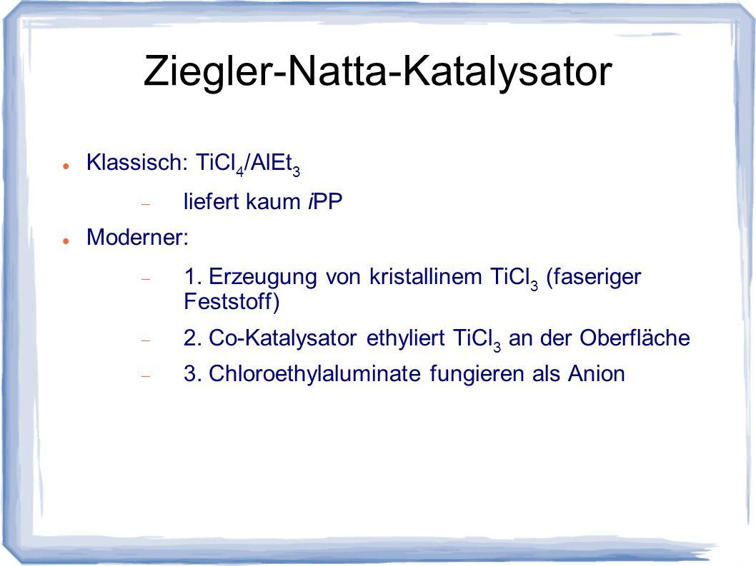 Ziegler-Natta-Katalysator Klassisch: TiCl 4 /AlEt 3 liefert kaum iPP Moderner: 1. Erzeugung von kristallinem TiCl 3 (faseriger Feststoff) 2. Co-Kataly