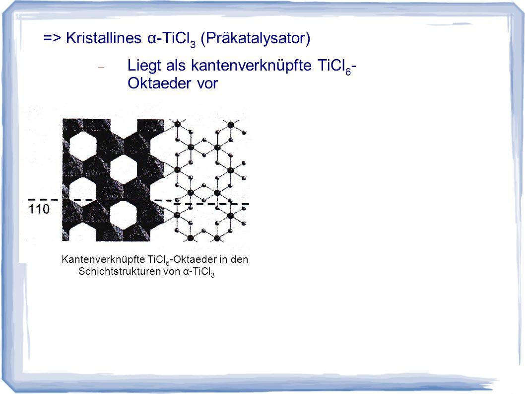 Liegt als kantenverknüpfte TiCl 6 - Oktaeder vor Kantenverknüpfte TiCl 6 -Oktaeder in den Schichtstrukturen von α-TiCl 3