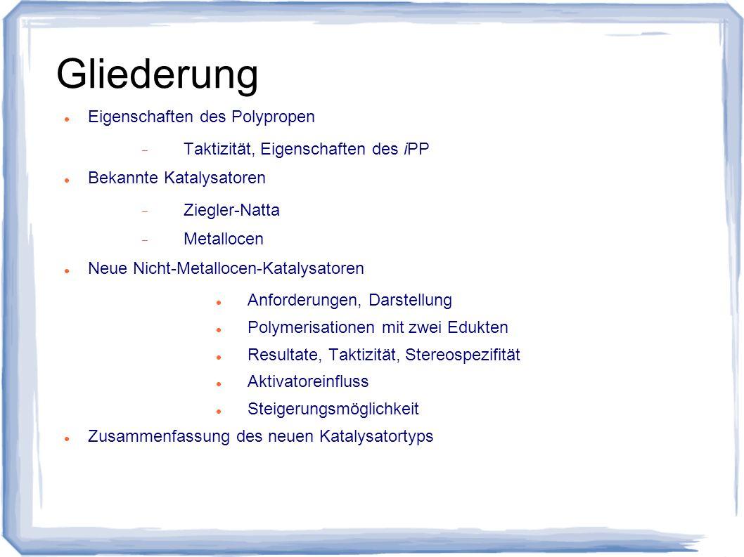 Gliederung Eigenschaften des Polypropen Taktizität, Eigenschaften des iPP Bekannte Katalysatoren Ziegler-Natta Metallocen Neue Nicht-Metallocen-Kataly