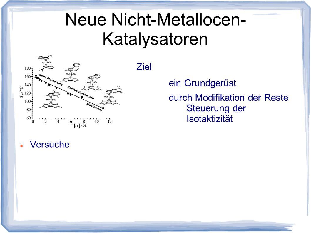 Neue Nicht-Metallocen- Katalysatoren Versuche Ziel ein Grundgerüst durch Modifikation der Reste Steuerung der Isotaktizität