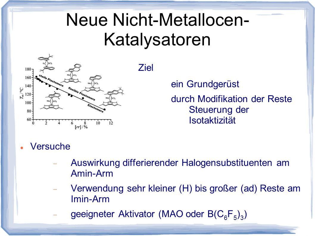 Neue Nicht-Metallocen- Katalysatoren Versuche Auswirkung differierender Halogensubstituenten am Amin-Arm Verwendung sehr kleiner (H) bis großer (ad) R