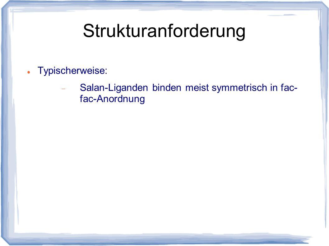Strukturanforderung Typischerweise: Salan-Liganden binden meist symmetrisch in fac- fac-Anordnung