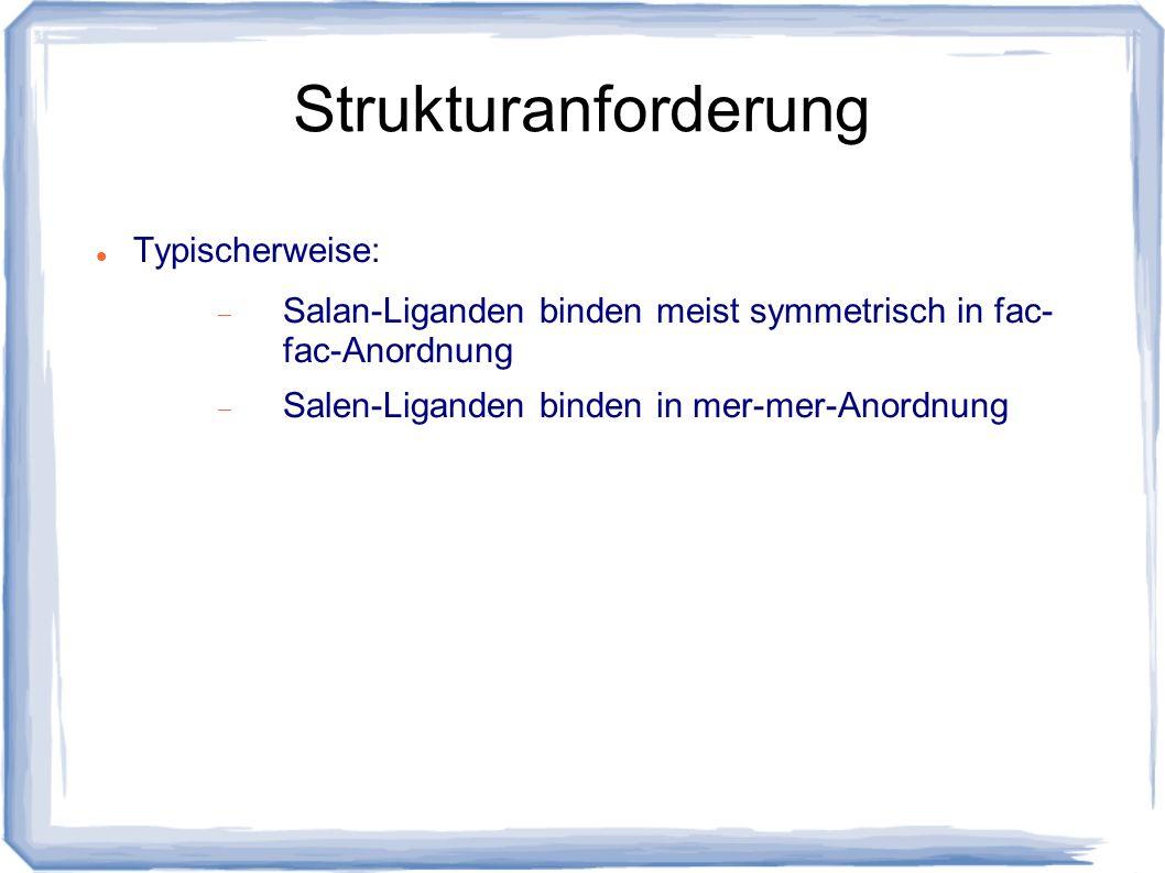 Strukturanforderung Typischerweise: Salan-Liganden binden meist symmetrisch in fac- fac-Anordnung Salen-Liganden binden in mer-mer-Anordnung