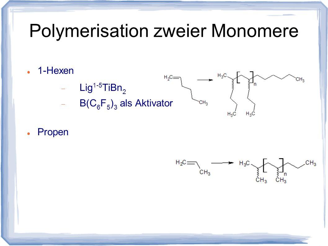 Polymerisation zweier Monomere 1-Hexen Lig 1-5 TiBn 2 B(C 6 F 5 ) 3 als Aktivator Propen