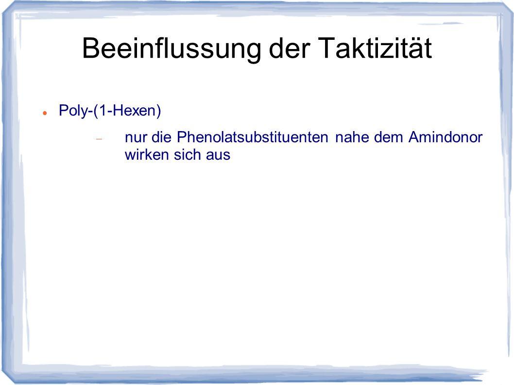 Beeinflussung der Taktizität Poly-(1-Hexen) nur die Phenolatsubstituenten nahe dem Amindonor wirken sich aus