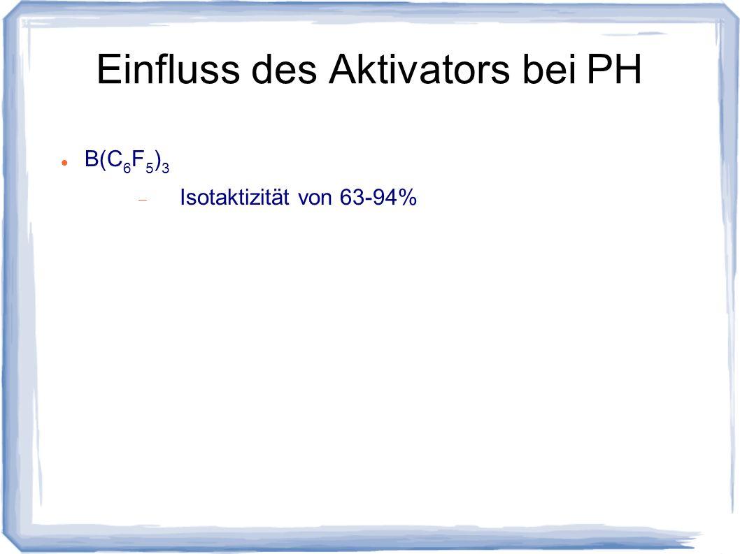 Einfluss des Aktivators bei PH B(C 6 F 5 ) 3 Isotaktizität von 63-94%