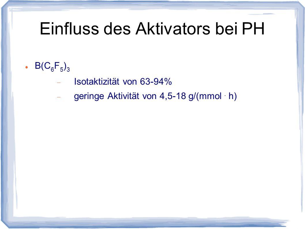 Einfluss des Aktivators bei PH B(C 6 F 5 ) 3 Isotaktizität von 63-94% geringe Aktivität von 4,5-18 g/(mmol. h)