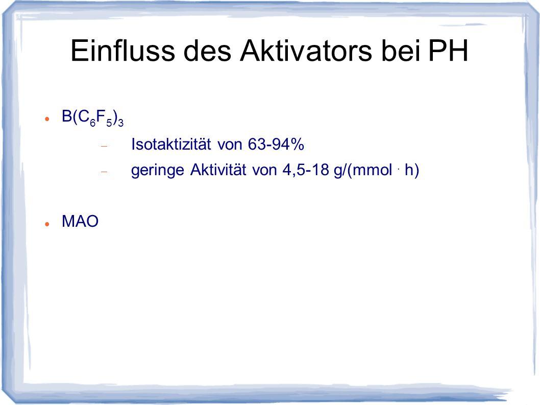 Einfluss des Aktivators bei PH B(C 6 F 5 ) 3 Isotaktizität von 63-94% geringe Aktivität von 4,5-18 g/(mmol. h) MAO