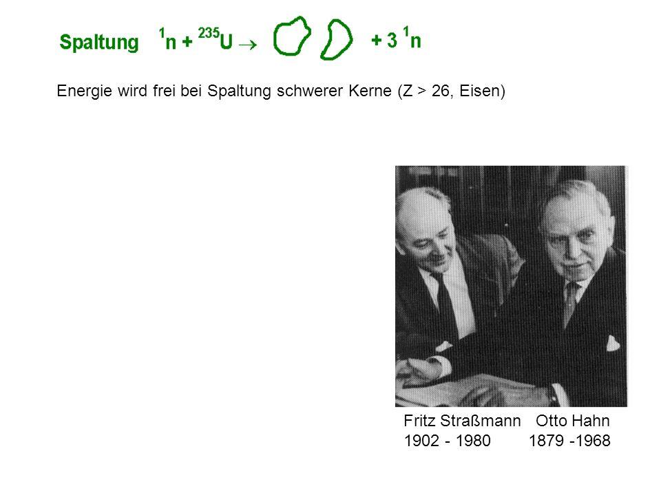 Fritz Straßmann Otto Hahn 1902 - 1980 1879 -1968 Energie wird frei bei Spaltung schwerer Kerne (Z > 26, Eisen)