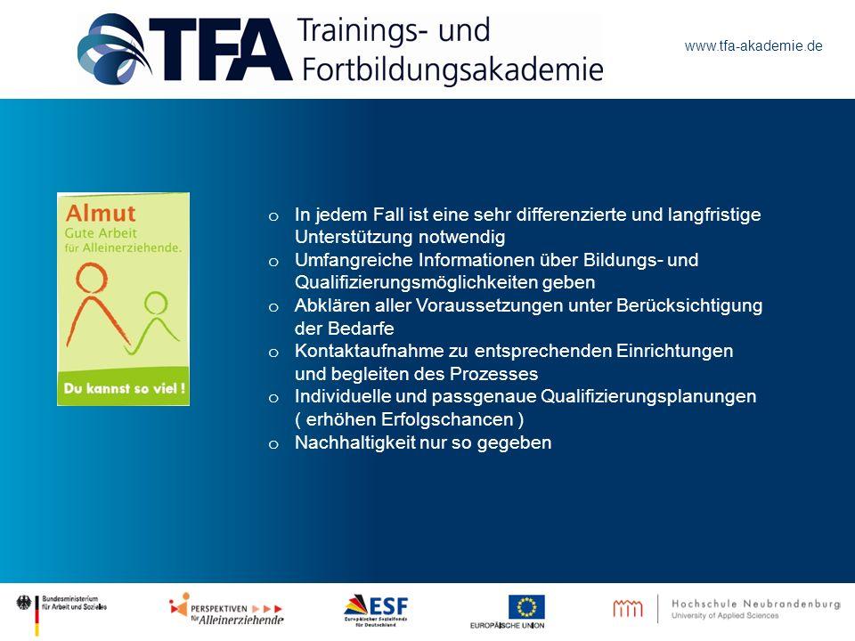 www.tfa-akademie.de o In jedem Fall ist eine sehr differenzierte und langfristige Unterstützung notwendig o Umfangreiche Informationen über Bildungs-