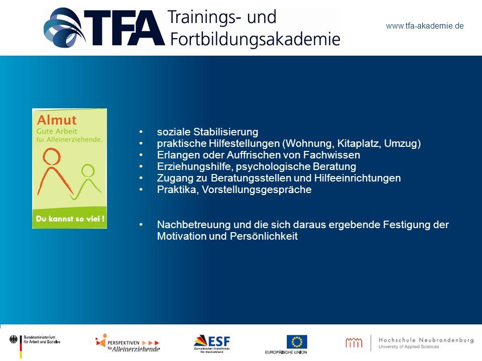 www.tfa-akademie.de soziale Stabilisierung praktische Hilfestellungen (Wohnung, Kitaplatz, Umzug) Erlangen oder Auffrischen von Fachwissen Erziehungsh